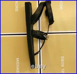 MICHAEL KORS New Black Leather MK Silver LOGO charm Farrow Thong Sandals Shoes