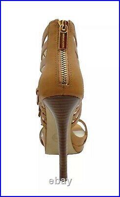 MICHAEL KORS PLATFORMS AVA Cognac tan LEATHER HEELS Shoes size 10 new