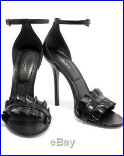 MICHAEL KORS Priscilla Black Ruffled Real Leather Sandals EU 40 / UK 7 / US 9