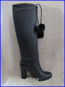 MICHAEL KORS Remi Tall Black Leather & Rabbit Fur Boots Shoes US 8.5 EUR 39 NWB