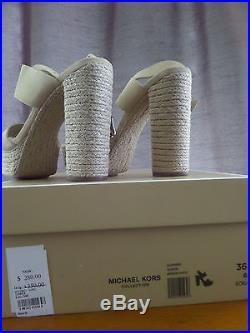 MICHAEL KORS SUMMER SUEDE PLATFORM SANDAL 46S6SUHA1S IN NUDE S. 36 (US 6)NEWithBOX