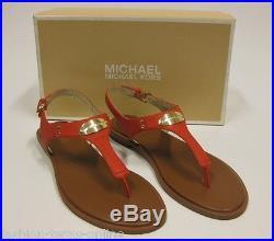 MICHAEL KORS Sandale mit Logo 40 = US 9.5 MK plate thong MANDARIN NEU /NIB