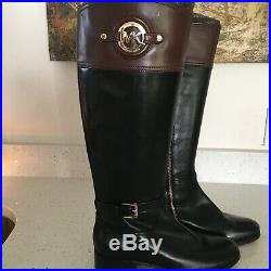 MICHAEL KORS Stockard Black Brown Leather Knee Tall Riding Boots NEW Womens 9