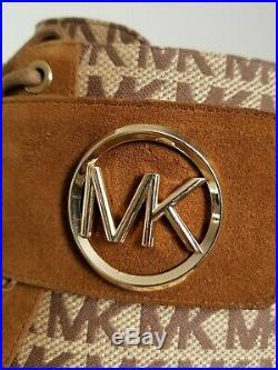 MICHAEL KORS TATUM ICONIC Lace Up Gold MK Logo COMBAT BIKER BOOTS I LOVE SHOES