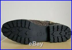 MICHAEL KORS TATUM ICONIC MK PRINT PVC Studs COMBAT BIKER BOOTS I LOVE SHOES