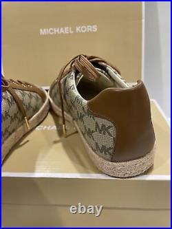 MICHAEL KORS WOMEN BRYSON LACE UP MK HERITAGE CANVAS SHOES NAT/LUGG COLOR Sz 7.5