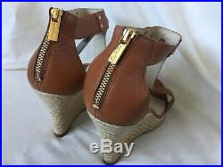MICHAEL KORS WOMENS ESPADRILLE BROWN LEATHER WEDGE SANDAL SHOES size 5.5 UK 8.5
