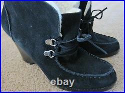 MICHAEL KORS Womans Black Suede Wendi Desert Boots Shoes Heels Size 7.5 M NWB