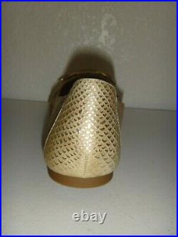 MICHAEL KORS Women's MK Ballet Flats Shoes Gold Real Leather Size 7.5, 8, 8.5,10