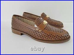 MICHAEL KORS Womens Leather Loafers Flats Shoes Sz 10 M Perforated Luggage Brown