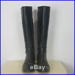 MICHAEL KORS Womens Size 10 M HAMILTON Black Leather 50/50 Full Zip Riding Boots