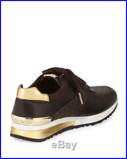 MICHAEL KORS Womens Size 8 MK Allie Trainer Leather Sneakers Shoes Brown Gold