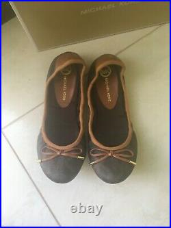 MICHAEL KORS new soft leather brown logo padded flats shoes ballerinas 38 5 220$