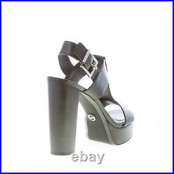 MICHAEL KORS women shoes Becker Platform black leather sandal heel 12 cm