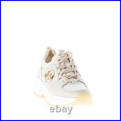 MICHAEL KORS women shoes Cream suede fabric Cosmo Trainer sneaker with gold
