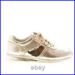 MICHAEL KORS women shoes Gold metallic leather Allie Plate Wrap sneaker