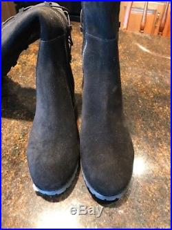 MICHAEL Kors Black Skye Suede Lace Up Tall Boots Size 7.5 NWB