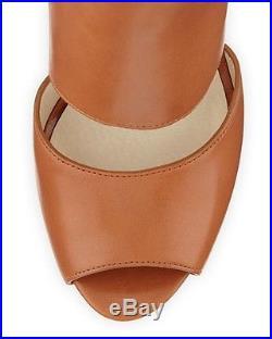 MICHAEL Michael KORS Wyatt Open Toe Platform Leather Sandal Sz 10 Luggage NEW