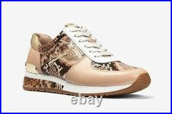 MICHAEL Michael Kors ALLIE Trainer Embossed Leather Sneakers Shoes US 6.5