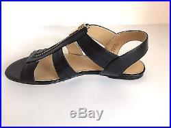 MICHAEL Michael Kors'BERKLEY FLAT' Black Leather Sandals Sz. 9.5 M NIB