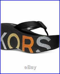 MICHAEL Michael Kors Benny Flip-Flop Wedge Sandals Black Multi Women's Size 9