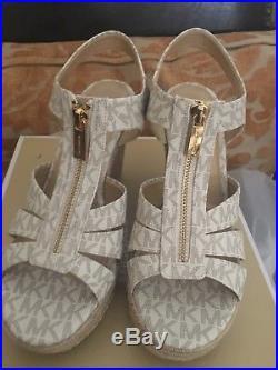 8871dcaf26d5 MICHAEL Michael Kors Berkley Wedge Sandals Vanilla MK Logo Size 7.5 New In  Box