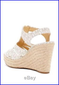 MICHAEL Michael Kors Berkley Wedge Sandals Vanilla MK Logo Size 7 New In Box
