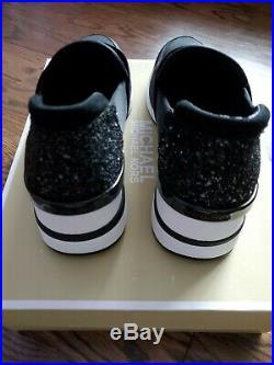MICHAEL Michael Kors FELIX Slip-On Scuba Wedge Sneakers Black size 9 M NIB