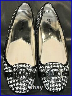 MICHAEL Michael Kors Fulton moc women's black & white leather pump shoes size 9M