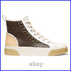MICHAEL Michael Kors Gertie Studded High-Top Sneakers Women's Casual Shoes Brown
