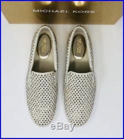 MICHAEL Michael Kors Keaton Slip-On Sneakers Size 9 Mini MK Logo Vanilla