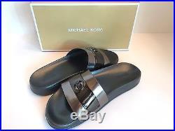 MICHAEL Michael Kors Ladies'JETT SLIDES' Mirror Metallic-Gunmetal Sz. 8 M NIB