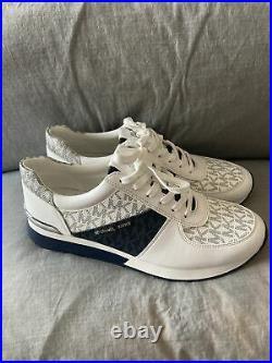 MICHAEL Michael Kors Logo Bright White/Multi Trainer Sneakers Shoes Sz 8.5