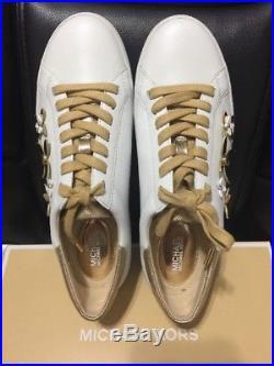 MICHAEL Michael Kors Lola Fashion Sneaker Leather White/Gold SZ 8 Retails $140