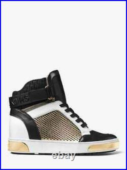 MICHAEL Michael Kors Pia High Top Sneakers Wedge Casual Shoes Black Gold 7.5