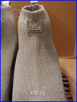 MICHAEL Michael Kors Skyler Metallic Silver Booties Size 7 (NIB)
