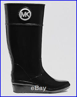 MICHAEL Michael Kors Stockard Wedge Black Rain Boots 6-10