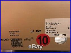 MICHAEL Michael Kors Sutton Moc Moccasin Flat Shoes Suede London Grey Sz 10