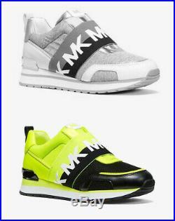 MICHAEL Michael Kors TEDDI Neon Grey Mesh and Leather Slip-On Trainer Shoes