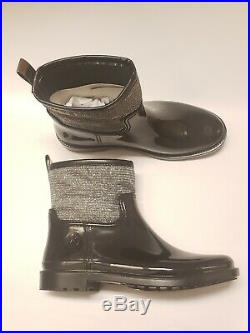 MICHAEL Michael Kors Women's Blakely Glitter Metallic Black Rain Boots Size 9