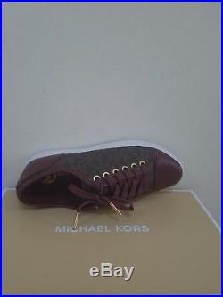 MICHAEL Michael Kors Women's City Sneaker MK Signature Merlot Size 7 NIB