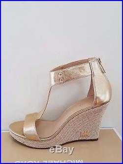 MICHAEL Michael Kors Women's Espadrille Leather Wedge Sandal Size 6.5 NIB