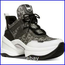 MICHAEL Michael Kors Womens Olympia B/W Leather Shoes 5.5 Medium (B, M) BHFO 8511