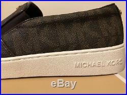 MICHAEL by MICHAEL KORS KEATON SLIP ON BROWN LOGO FASHION SNEAKERS 7.5B