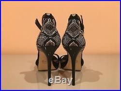 MIchael Kors Black Embellished Leather Platform Heel Sandals Size 7 new no box