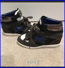 MIchael Kors Womens Sz 7.5M Nikko Blue Silver Piped Wedge Heel Sneakers Shoes