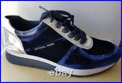 Michael KORS ALLIE Admiral Blue Velvet SIlver Logo Trainer Sneakers I LOVE SHOES