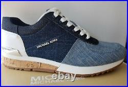 Michael KORS ALLIE CUTE RARE DENIM CORK LOGO Sneakers US 6.5 I LOVE SHOES