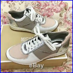 Michael KORS ALLIE Cement Soft Pink Silver Logo Trainer Sneakers Size 8 Womens