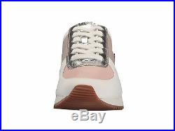 Michael KORS ALLIE Cement Soft Pink Silver Sexy Logo Trainer Sneakers LOVE SHOES